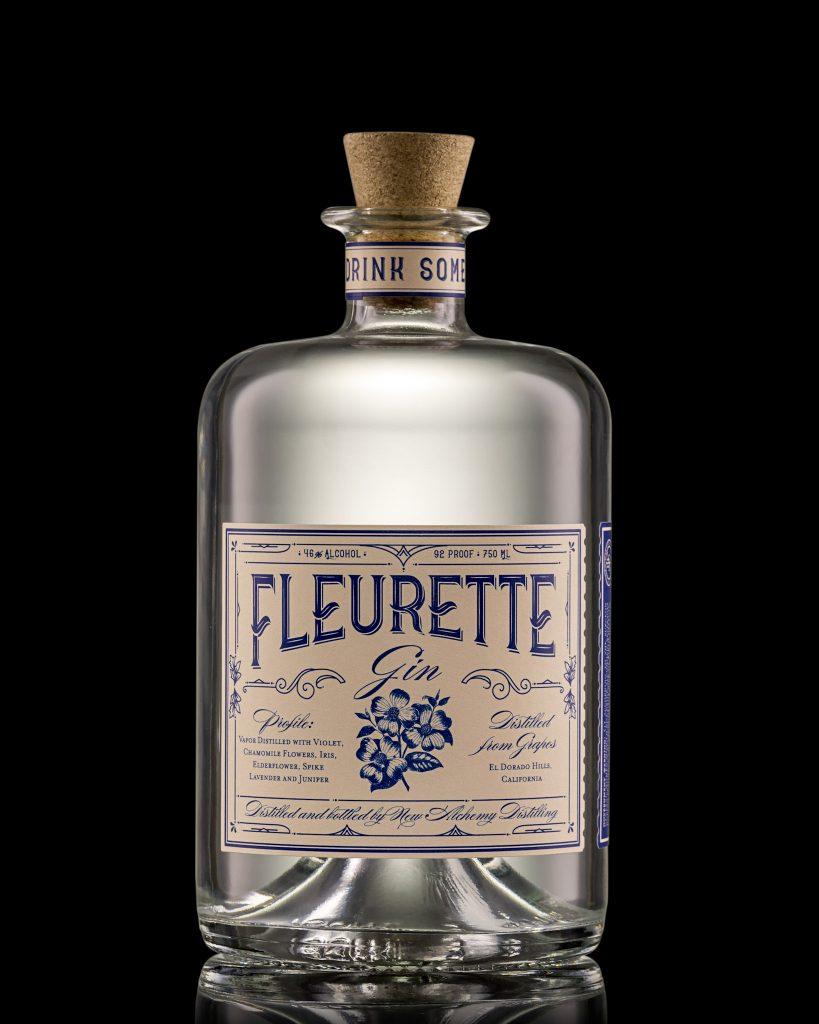 A bottle of Fleurette Gin