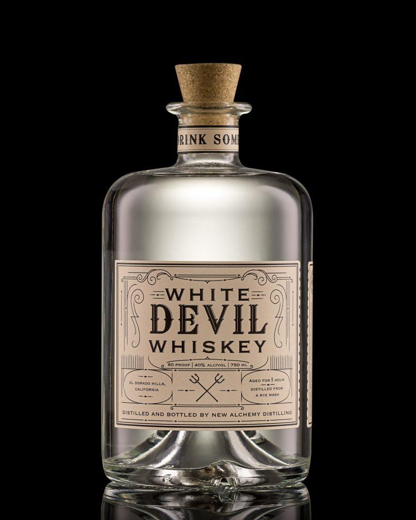 A bottle of White Devil Whiskey