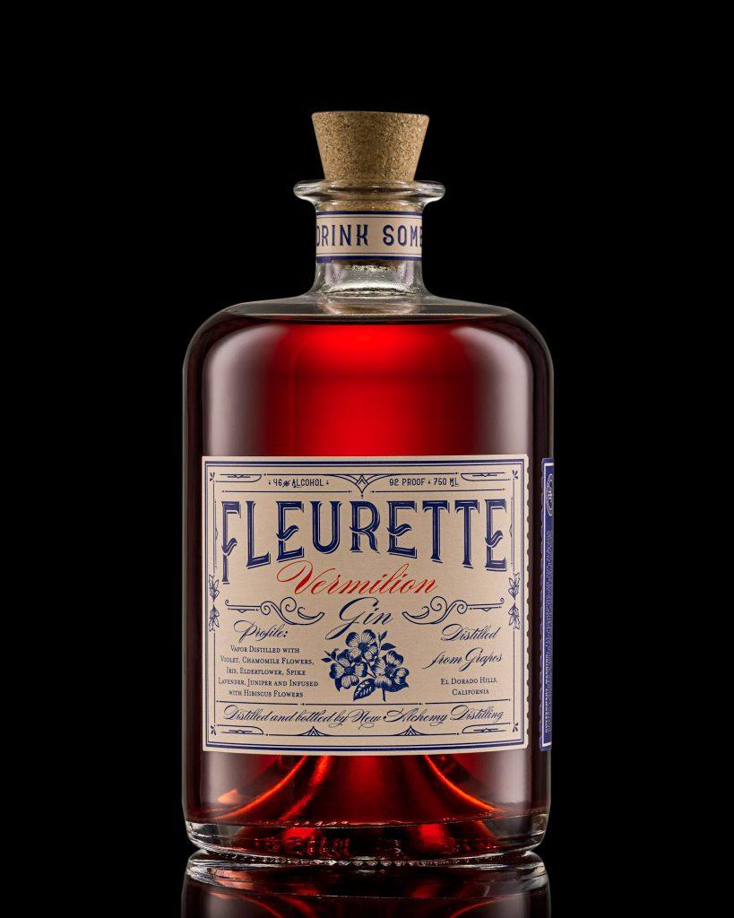 A bottle of Fleurette Vermilion Gin