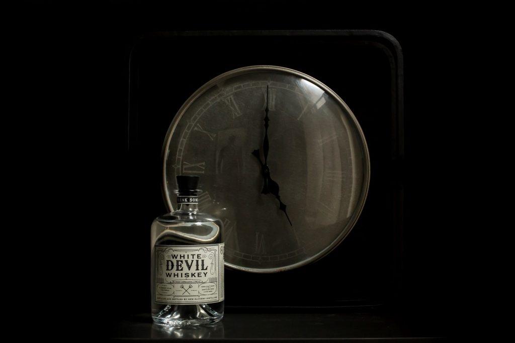 Still life photograph of White Devil Whiskey
