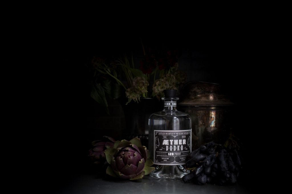 Still life photograph of Aether Vodka